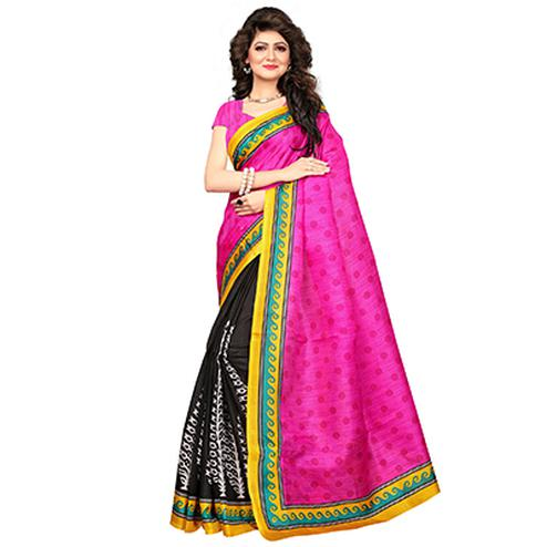 Pink-Black Festive Wear Printed Khadi Jute Silk Saree