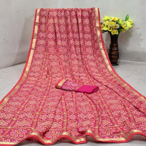 Magnetic Pink Colored Festive Wear Woven Moss Georgette Saree