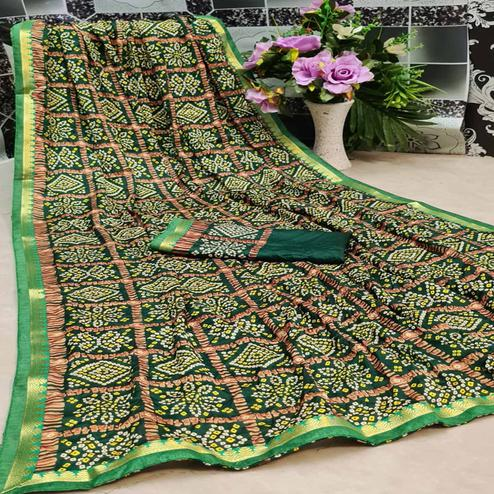 Flattering Green Colored Festive Wear Woven Moss Georgette Saree