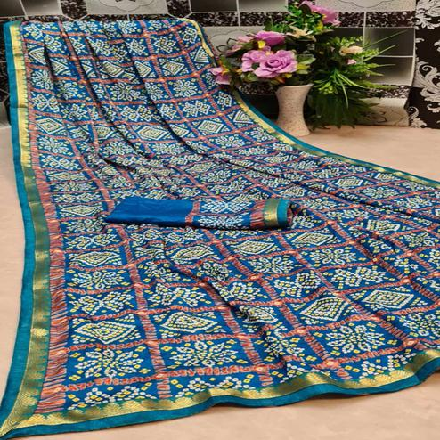 Excellent Turquoise Blue Colored Festive Wear Woven Moss Georgette Saree