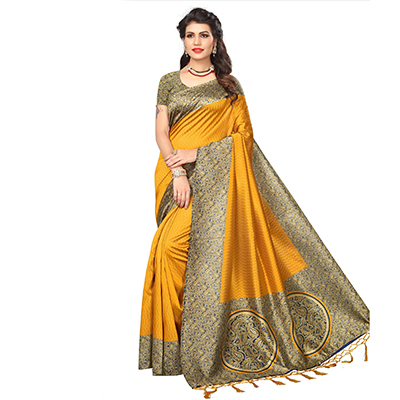 Yellow Festive Wear Printed Art Silk Saree