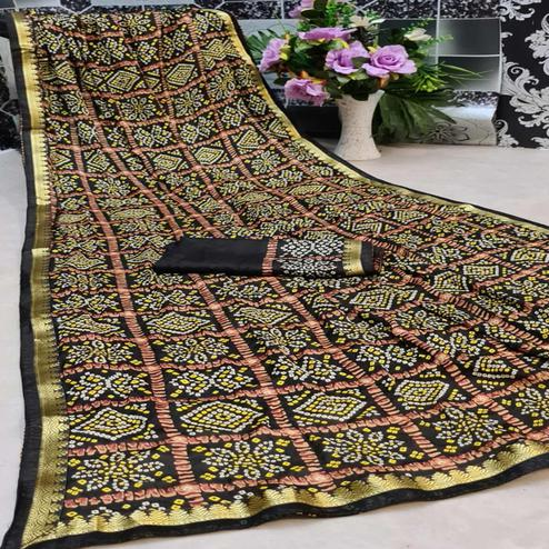 Prominent Black Colored Festive Wear Woven Moss Georgette Saree