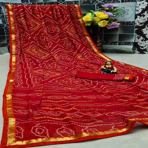 Entrancing Red Colored Festive Wear Woven Moss Georgette Saree