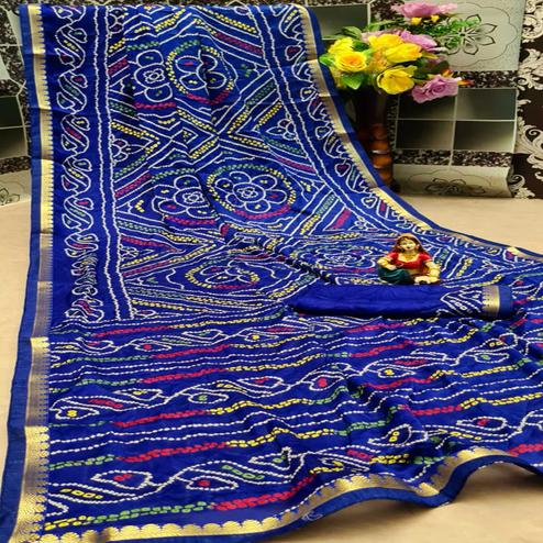 Groovy Blue Colored Festive Wear Woven Moss Georgette Saree