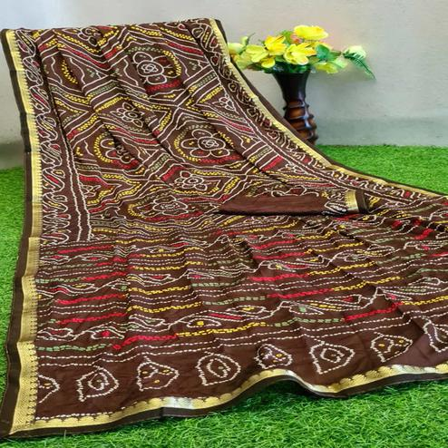 Glorious Brown Colored Festive Wear Woven Moss Georgette Saree