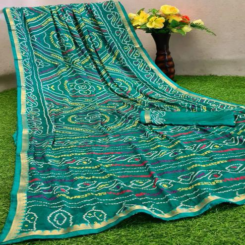 Attractive Turquoise Green Colored Festive Wear Woven Moss Georgette Saree
