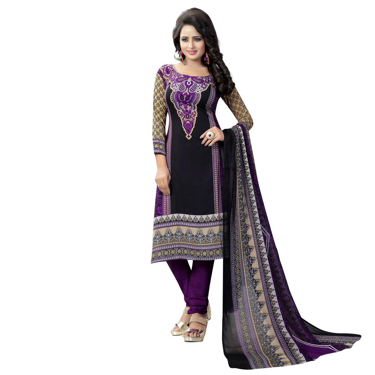 Black - Violet Casual Wear Printed Suit