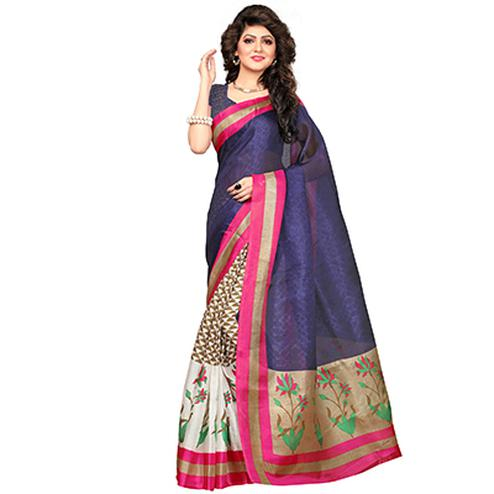Multi Colored Printed Khadi Jute Silk Saree