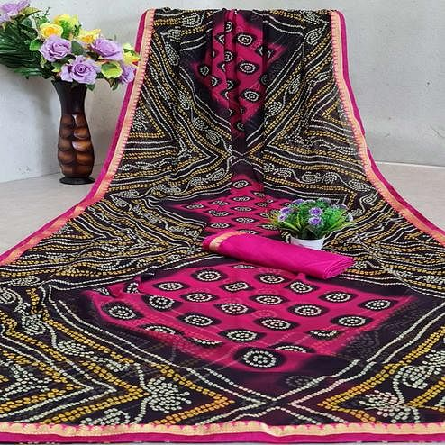 Engrossing Black - Pink Colored Festive Wear Woven Moss Georgette Saree