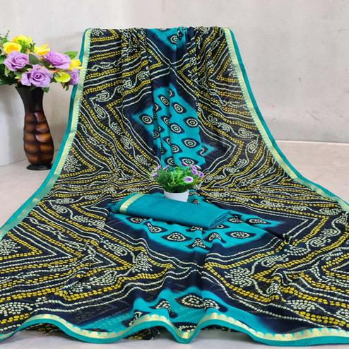 Captivating Blue Colored Festive Wear Woven Moss Georgette Saree