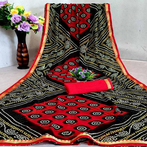 Innovative Red - Black Colored Festive Wear Woven Moss Georgette Saree