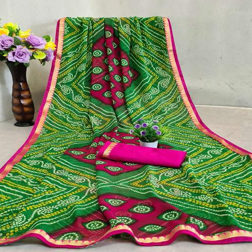 Amazing Green -Pink Colored Festive Wear Woven Moss Georgette Saree
