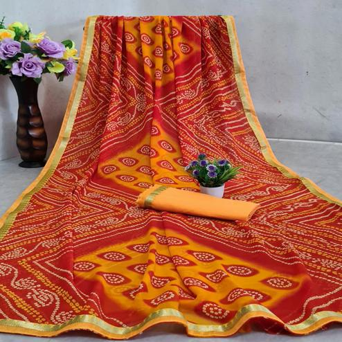 Gorgeous Red - Yellow Colored Festive Wear Woven Moss Georgette Saree