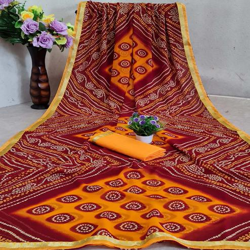 Blissful Maroon - Yellow Colored Festive Wear Woven Moss Georgette Saree