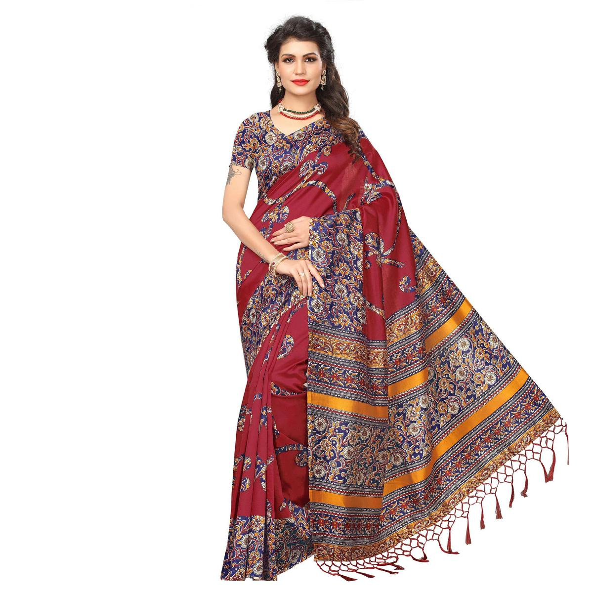 Maroon Festive Wear Printed Art Silk Saree