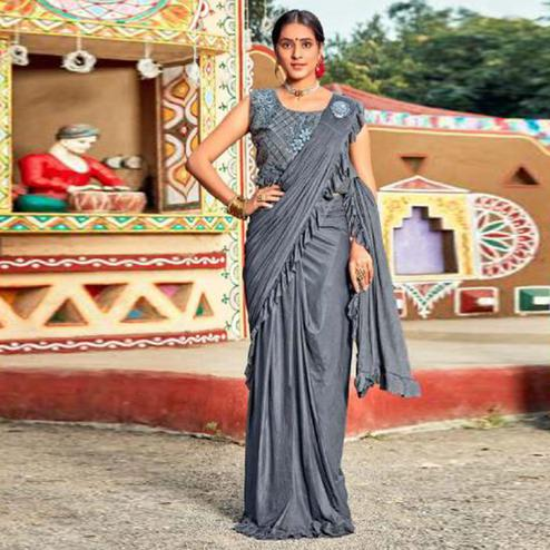 Captivating Grey Colored Partywear Embroidered Solid Lycra Saree With Ruffel