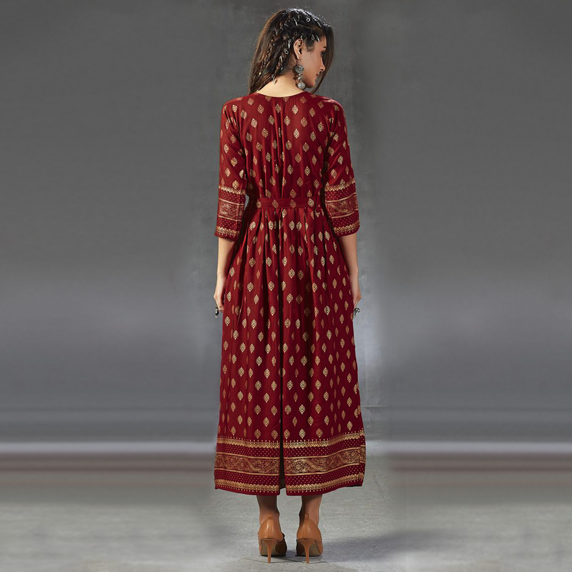 Lovely Red  Colored Partywear Foil Printed Viscose Rayon Kurti