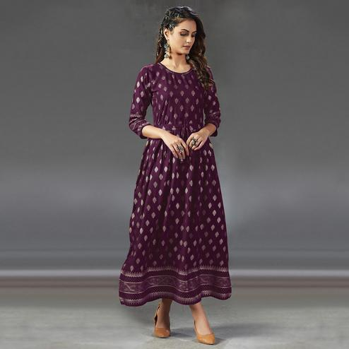 Majesty Wine Colored Partywear Foil Printed Viscose Rayon Kurti