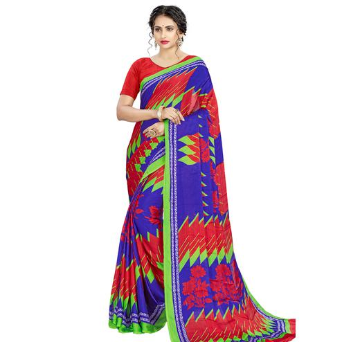 Impressive Red - Blue Colored Casual Wear Printed Silk Crepe Saree