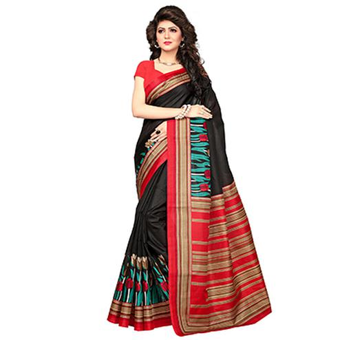 Black-Red Printed Khadi Jute Silk Saree