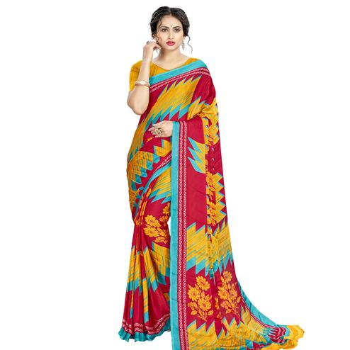 Breathtaking Red - Yellow Colored Casual Wear Printed Silk Crepe Saree