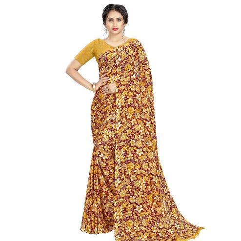 Intricate Mustard Yellow Colored Casual Wear Floral Printed Georgette Saree