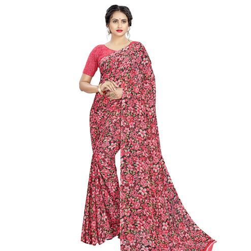Arresting Pink Colored Casual Wear Floral Printed Georgette Saree