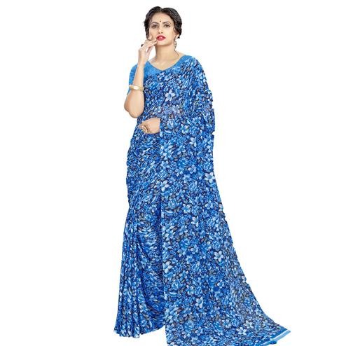 Desirable Blue Colored Casual Wear Floral Printed Georgette Saree