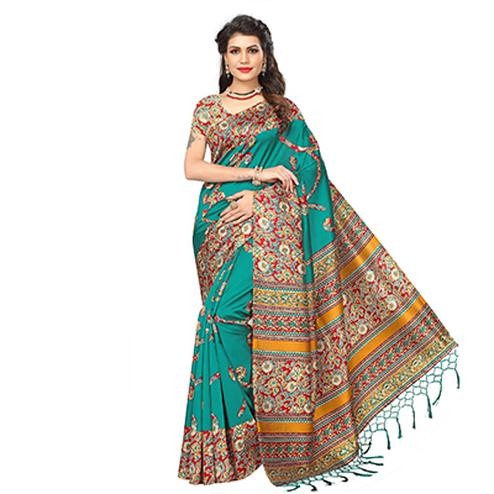 Green Festive Wear Printed Art Silk Saree