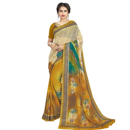 Sophisticated Beige - Mustard Colored Casual Wear Printed Georgette Saree