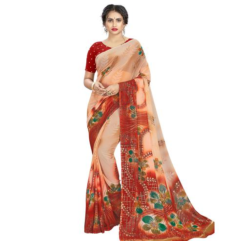 Trendy Beige - Red Colored Casual Wear Printed Georgette Saree