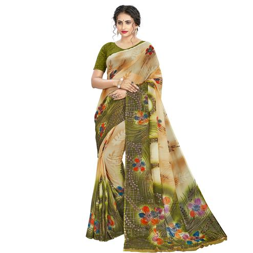 Elegant Beige - Green Colored Casual Wear Printed Georgette Saree