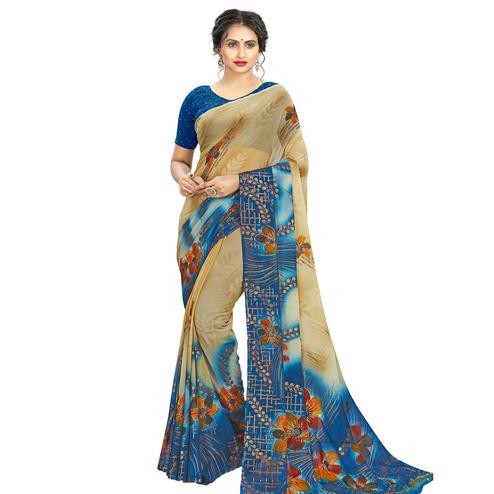 Radiant Beige - Blue Colored Casual Wear Printed Georgette Saree