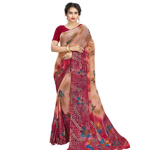 Pleasant Beige - Pink Colored Casual Wear Printed Georgette Saree