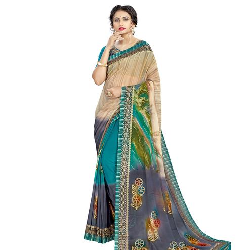 Opulent Beige - Multi Colored Casual Wear Printed Georgette Saree