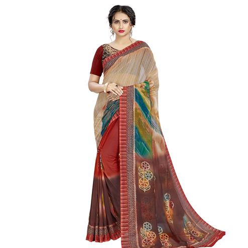 Energetic Beige - Multi Colored Casual Wear Printed Georgette Saree