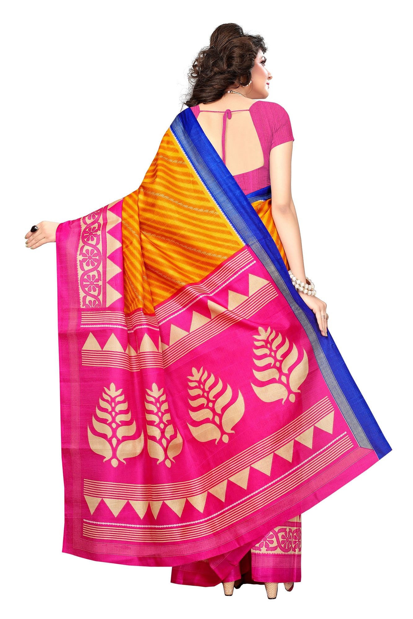 Yellow Printed Khadi Jute Silk Saree