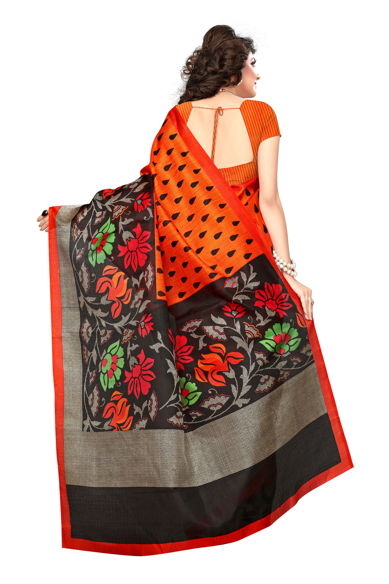 Orange Printed Khadi Jute Silk Saree