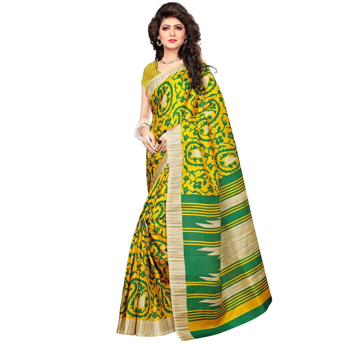 Green Printed Khadi Jute Silk Saree