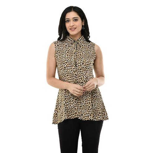 MAAHI - Women's Rayon Gold Printed Casual Top