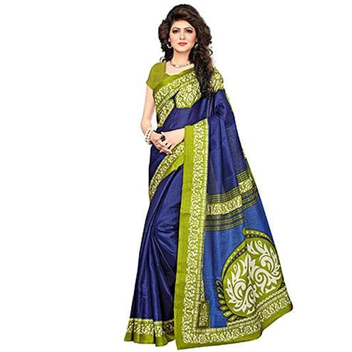 Dark Blue Printed Khadi Jute Silk Saree