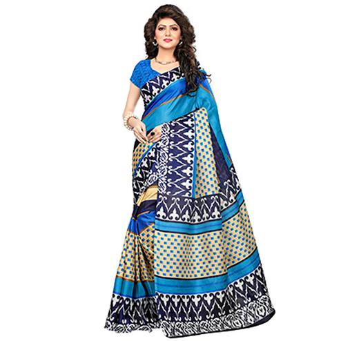 Blue Printed Khadi Jute Silk Saree