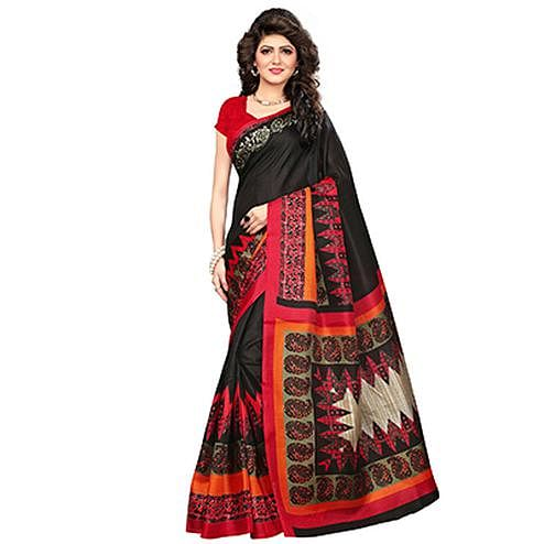 Black Printed Khadi Jute Silk Saree
