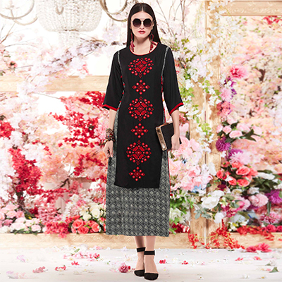 Gorgeous Black Designer Casual Wear Printed And Embroidered Cotton Kurti