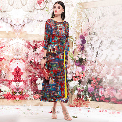 Trendy Multi Colored Designer Casual Wear Printed Rayon Kurti