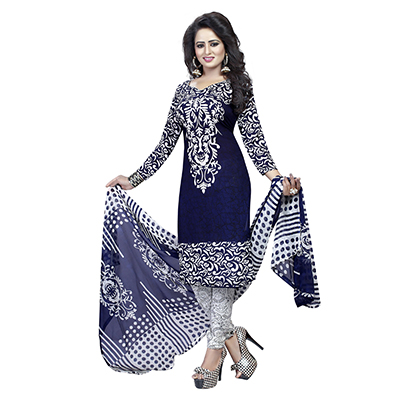 Navy Blue - White Crape Fabric Printed Suit