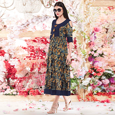Beautiful Multi Colored Designer Casual Wear Printed Rayon Kurti