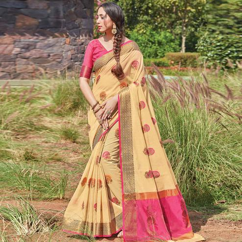 Opulent Beige Colored Festive Wear Woven Cotton Handloom Saree