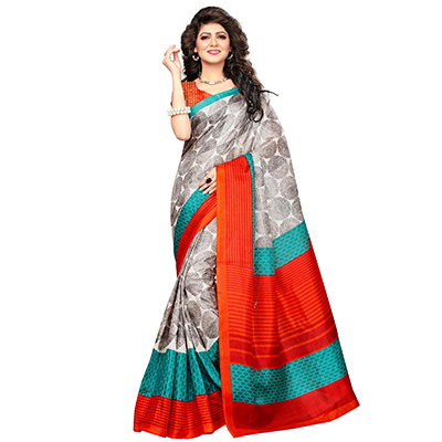 Gray Printed Khadi Jute Silk Saree