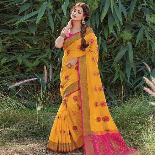 Energetic Yellow Colored Festive Wear Woven Cotton Handloom Saree